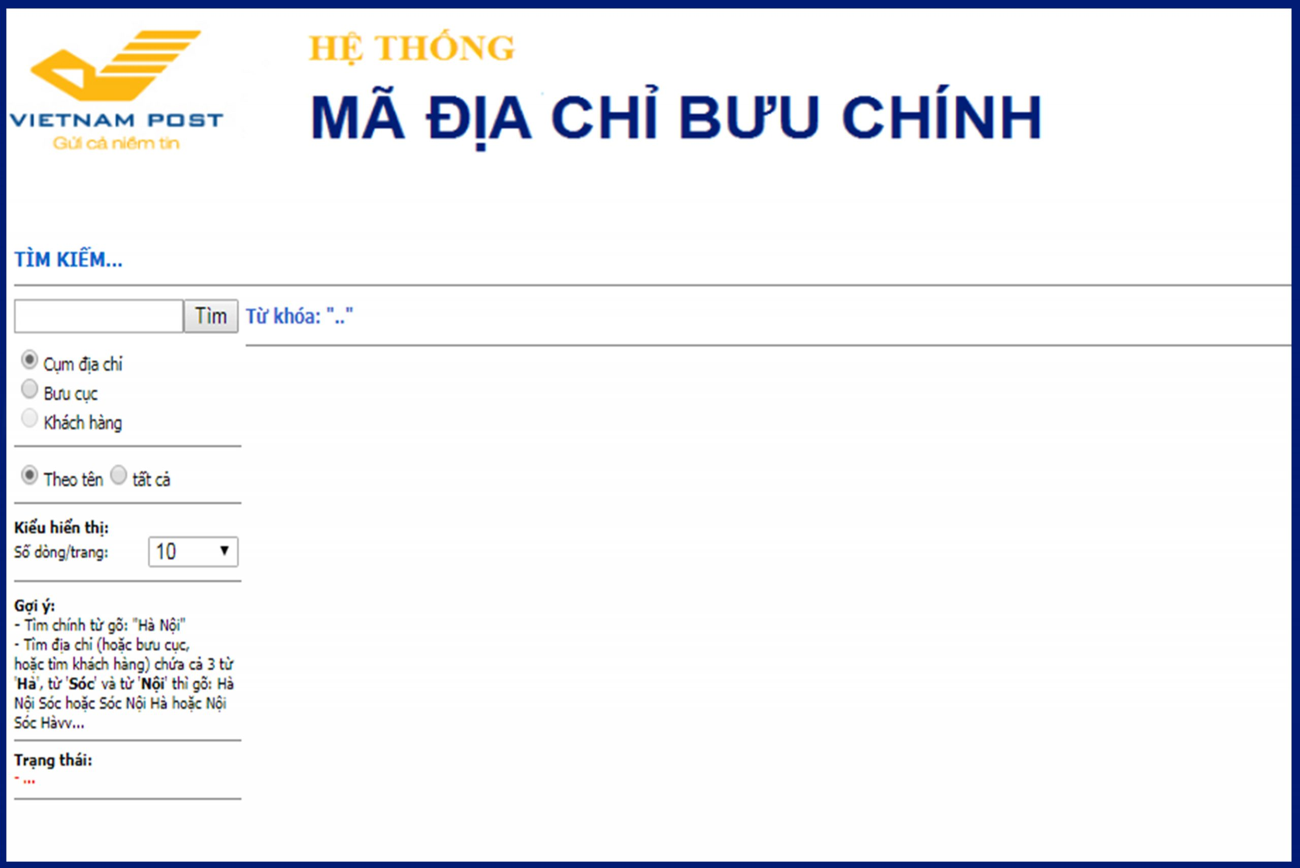 Hệ thống tra cứu mã bưu địa chính