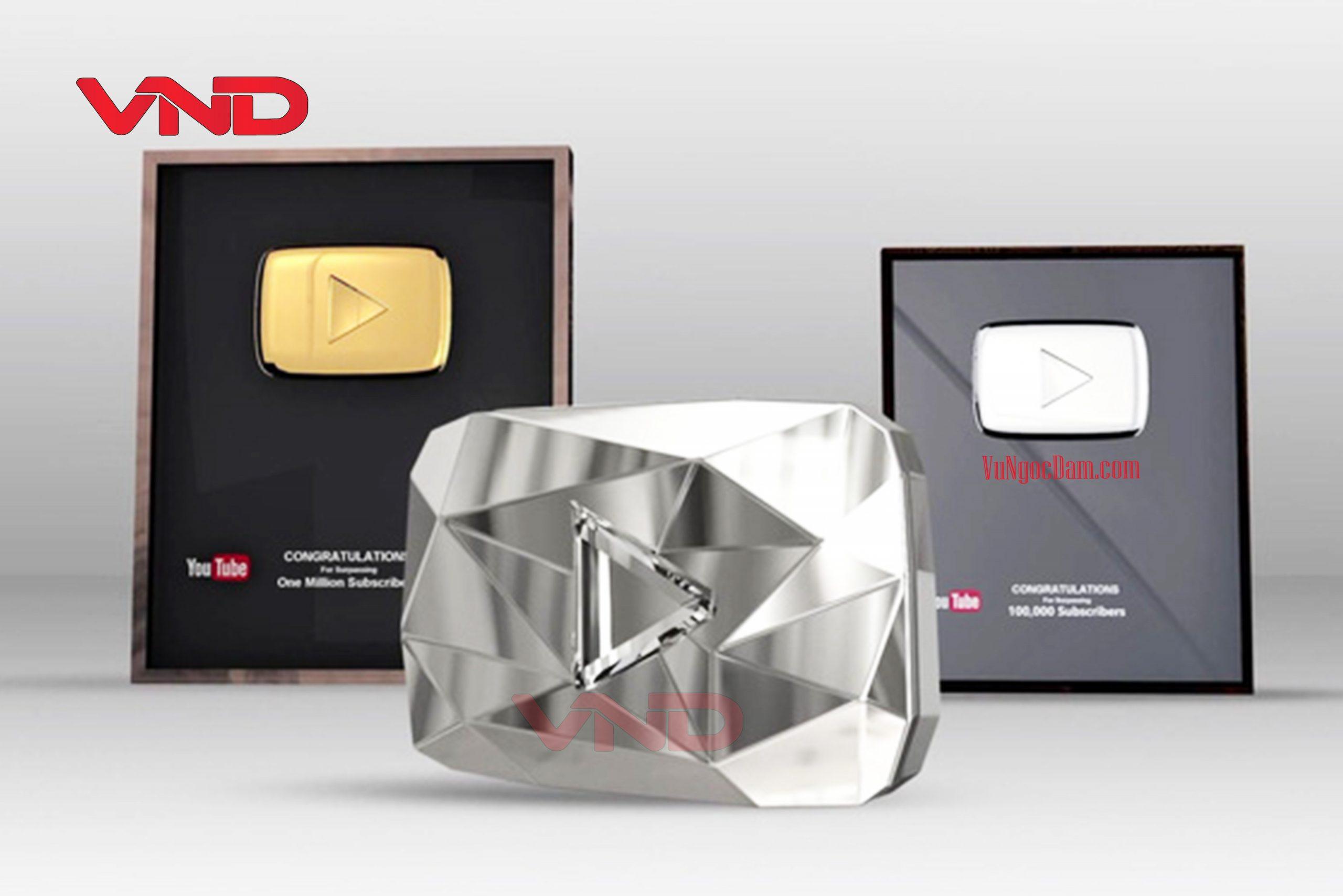 Nút giải thưởng của Youtube Vàng - Bạc - Kim Cương
