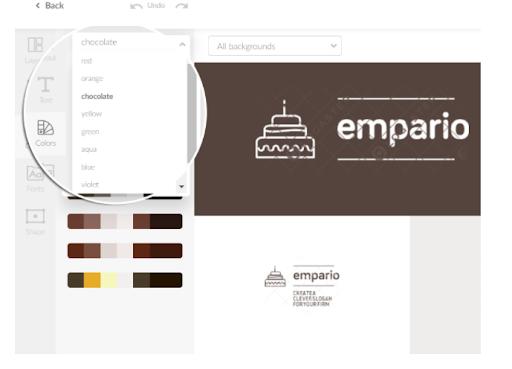 Ngoài ra phần mềm sẽ giúp bạn thử nghiệm với bảng màu logo tương lai