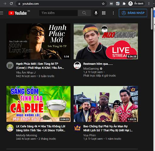 Đăng nhập Youtube