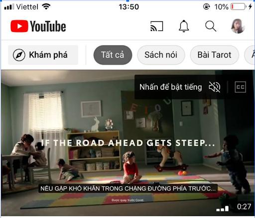 Giao diện Youtube khi đã đăng nhập sẽ hiển thị ở điện thoại như thế này.